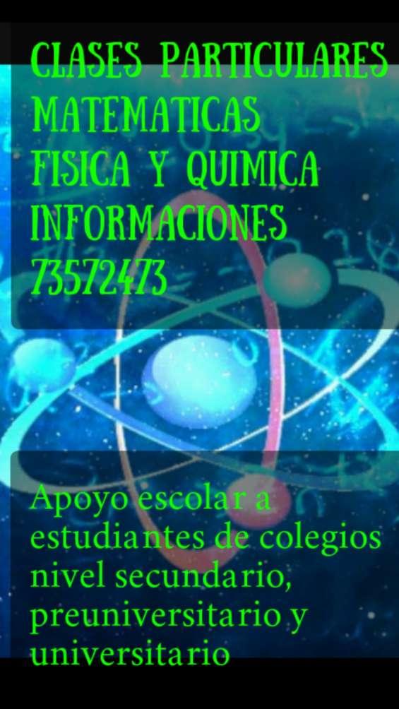 Clases de matemáticas física y química a domicilio 735 72 473 la paz bolivia